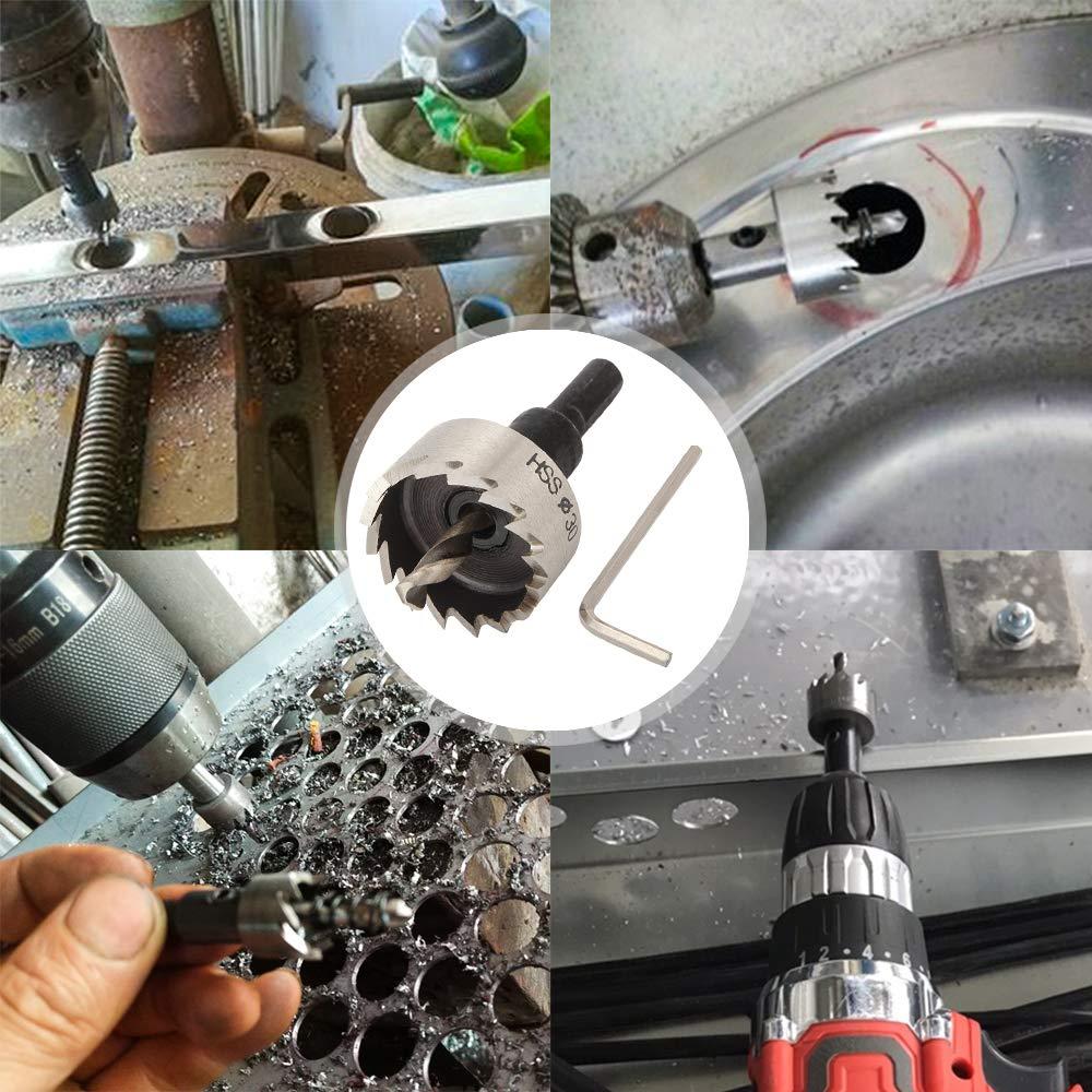 SENZEAL 30mm Acier Rapide HSS Scies-Cloches Drill Trou de Scie Trousse de Coupes de Trou de Forage