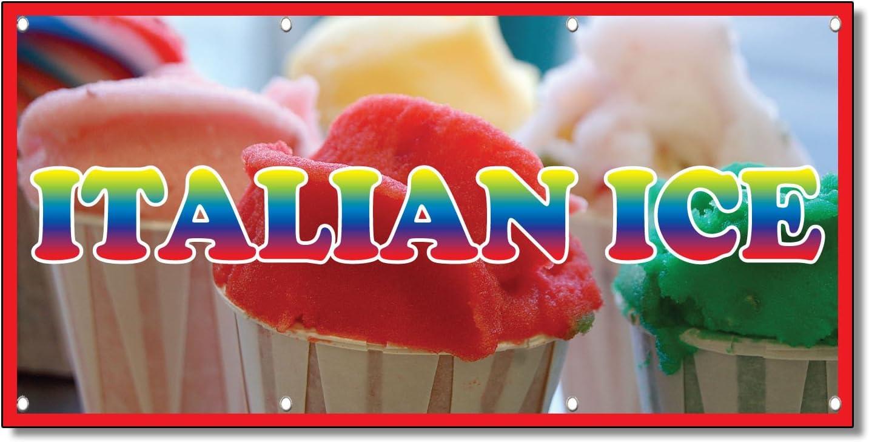 Vinyl Banner Sign Italian Ice #1 Restaurant /& Food Marketing Advertising Brown