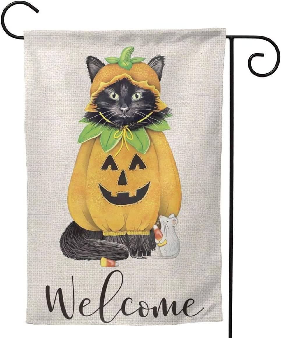 MINIOZE Kitty Cat Halloween Pumpkin FUUNY Retro Black Big Large Jumbo for Party Themed Flag Welcome Outdoor Outside Decorations Ornament Picks Garden Yard Decor Double Sided 12.5X 18 Flag