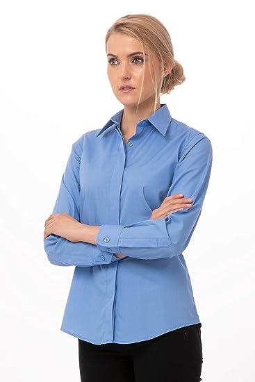 Chef Works Camisa Básica De Vestir Para Mujer Azul French
