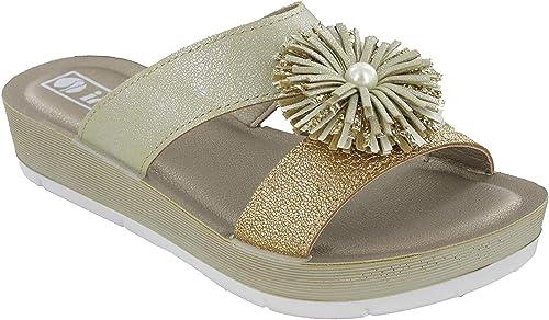 Womens Wedge Sandals Comfort Open Toe Inblu Padded Slip On Soft Flower UK 2.5-8