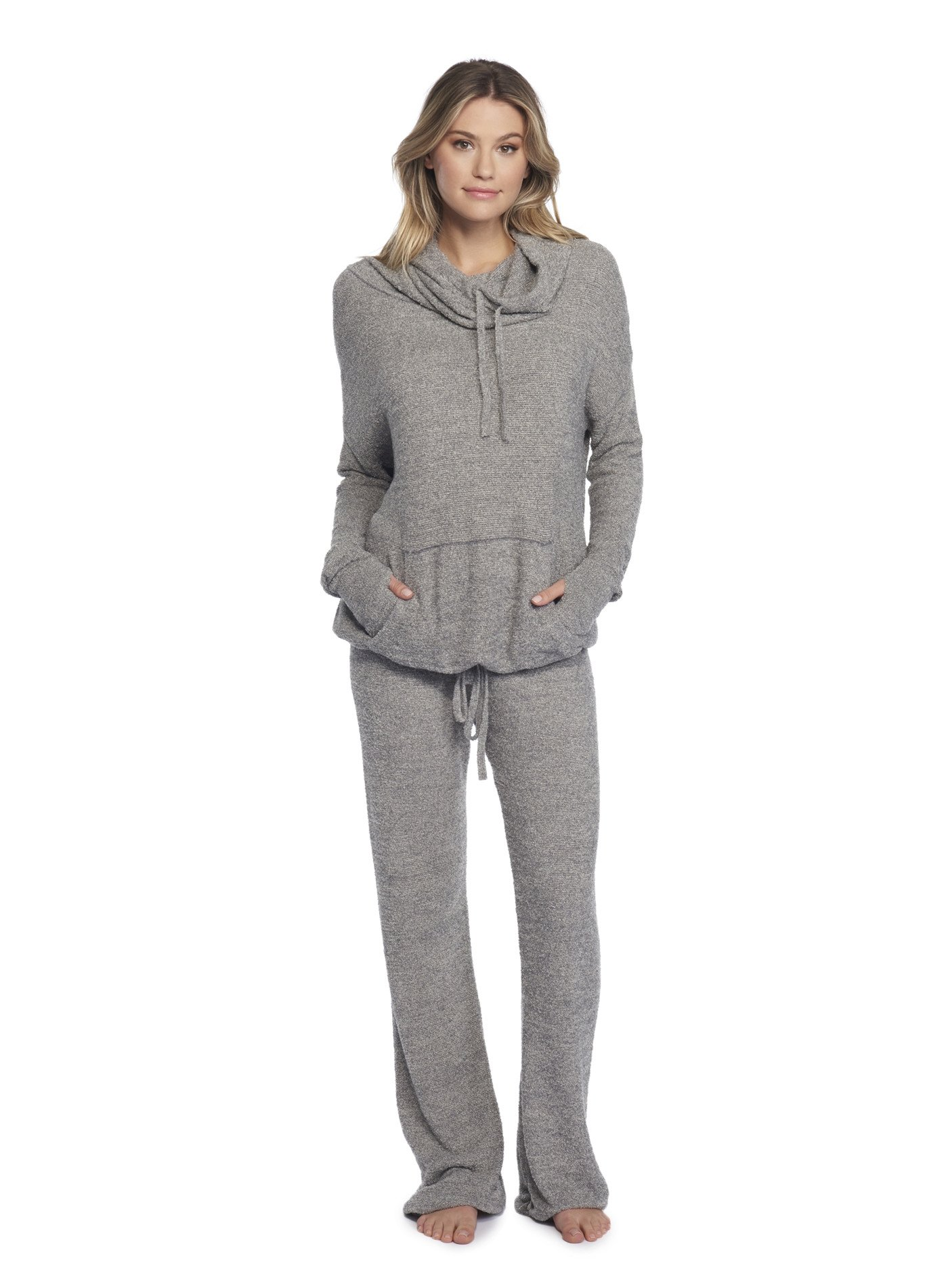 Barefoot Dreams CozyChic Lite Pebble Beach Pullover Heathered Graphite/Stone by Barefoot Dreams