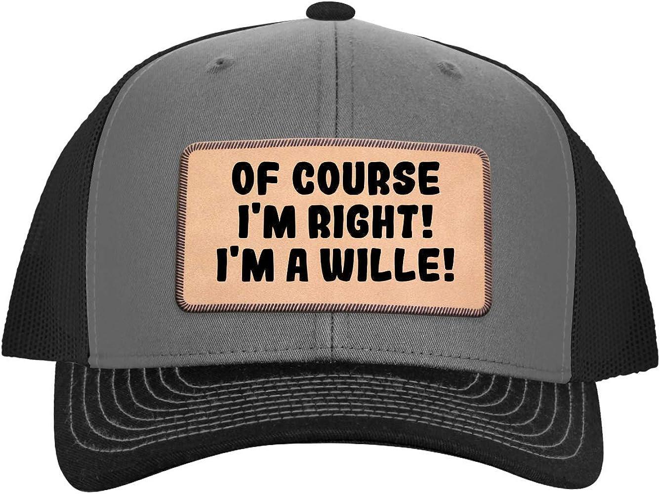 Im A Jauregui! One Legging it Around of Course Im Right Leather Dark Brown Patch Engraved Trucker Hat