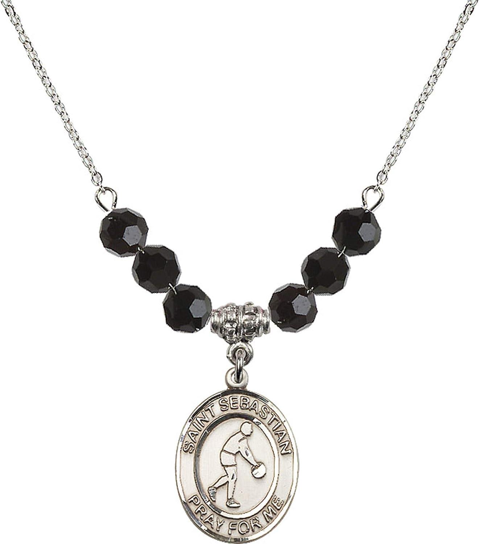 Bonyak Jewelry 18 Inch Rhodium Plated Necklace w// 6mm Jet Birth Month Stone Beads and Saint Sebastian//Basketball Charm