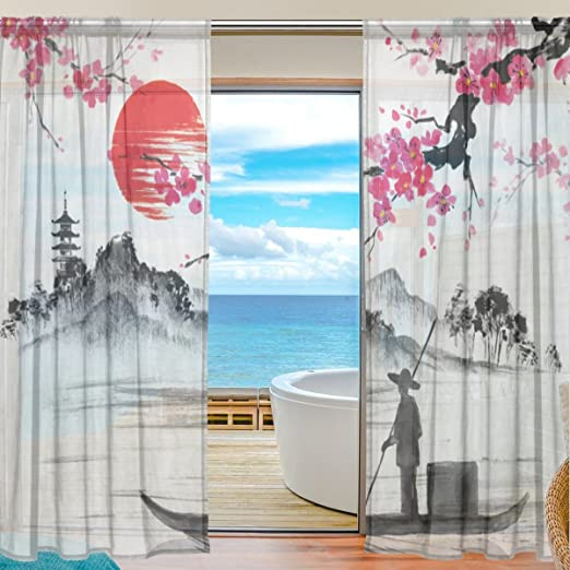 SEULIFE Window Sheer Curtain Musical Note Floral Pattern Voile Curtain Drapes for Door Kitchen Living Room Bedroom 55x78 inches 2 Panels