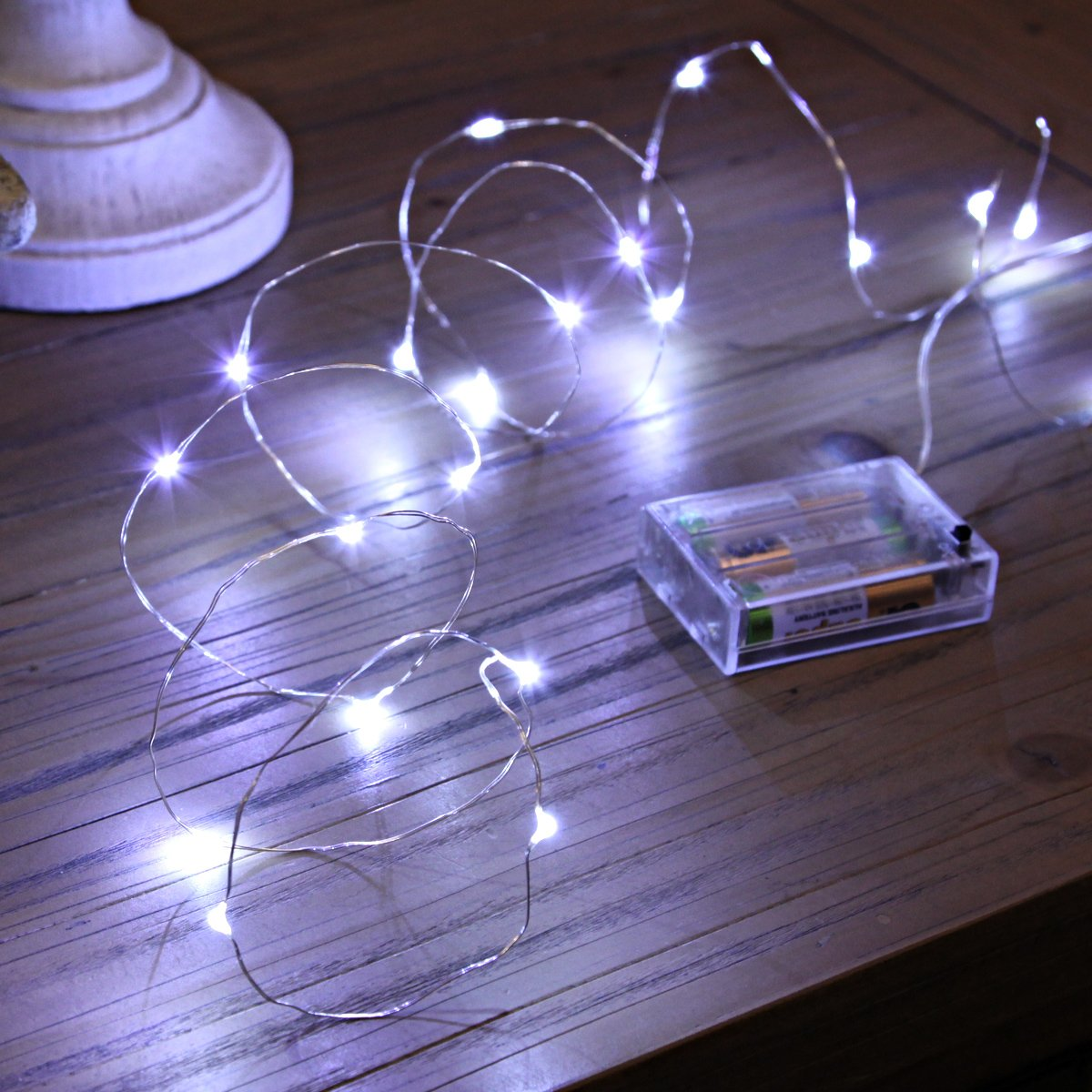 Festive Lights 20 Led Micro Silver Wire Indoor Battery Operated Wiring A Gas Lamp Firefly String Warm White Metal 2m Kitchen Home