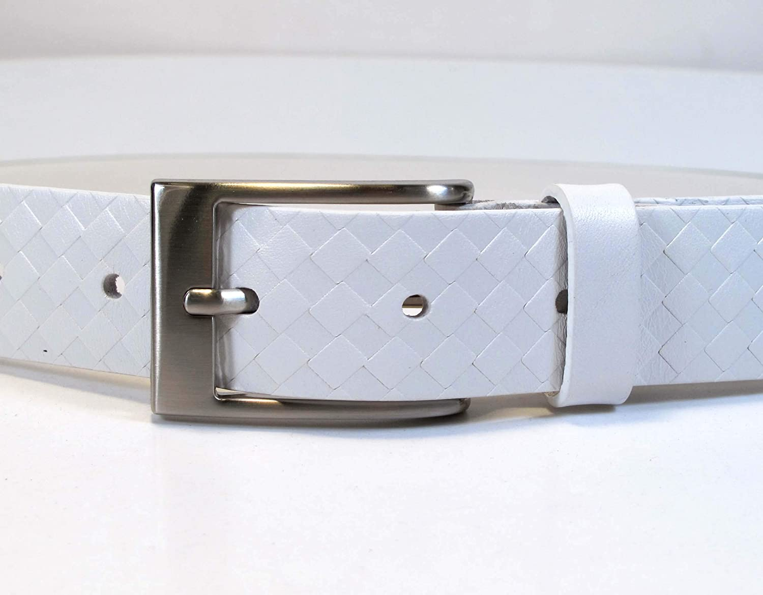 Mens Real Genuine Leather White Belt 1.1 Wide S-L Thick Long Casual Jeans CM8
