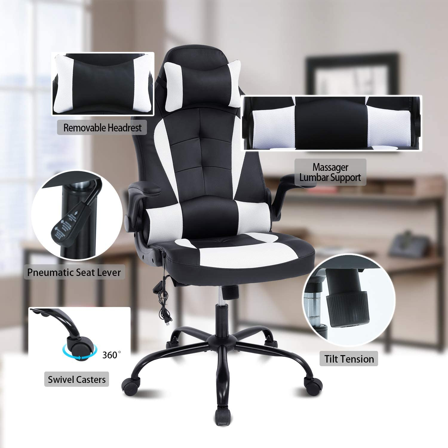 Massager Leather (White) HCB Office Chair Ergonomic Computer Desk Chair High Back Rolling Swivel Height Adjustable with Flip-Up Arms Headrest and Lumbar Support Gaming Chair
