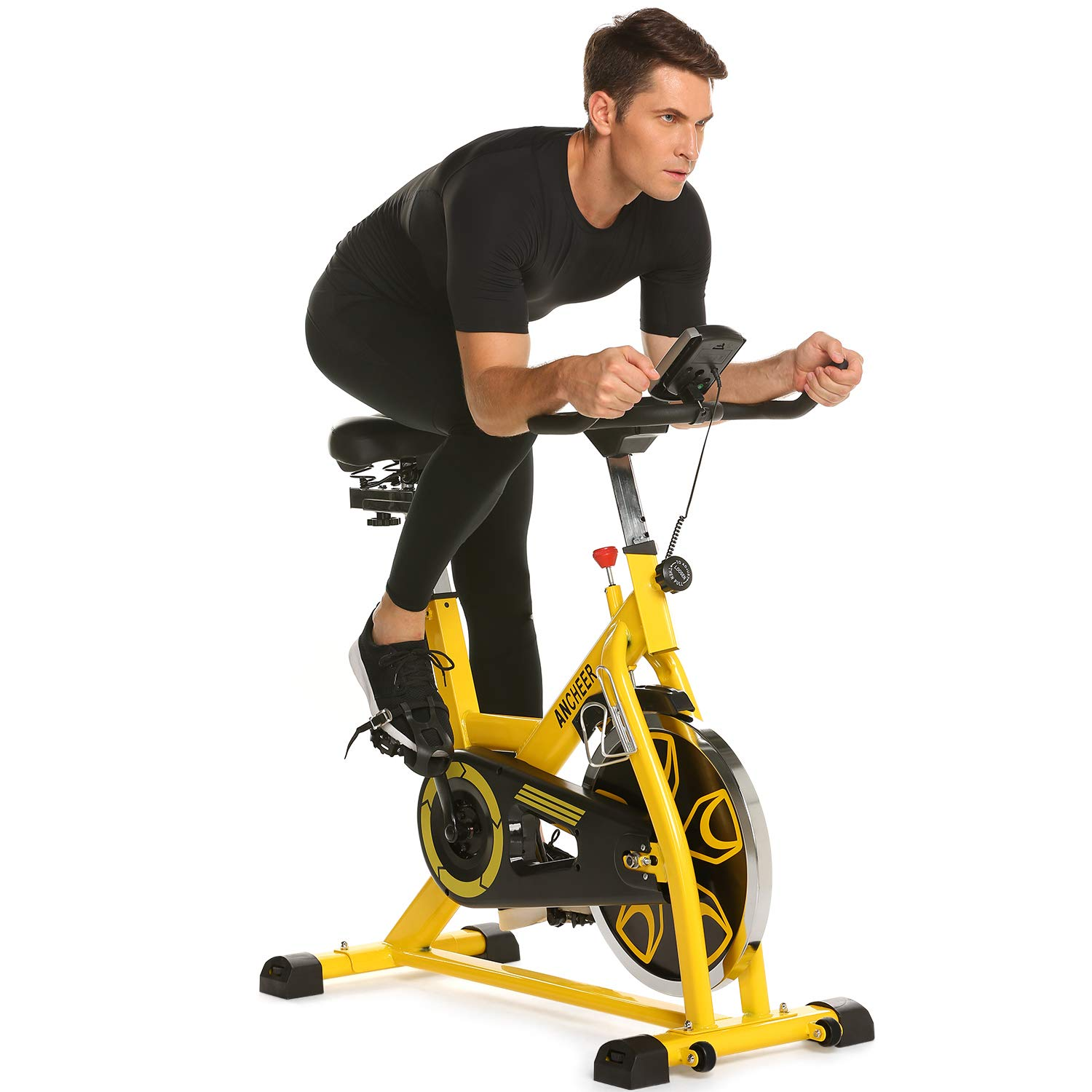 ANCHEER Indoor Cycling Bike, 49 lbs Flywheel Indoor Cycling Exercise Bike with Quiet Smooth Belt Drive System, Adjustable Seat & Handlebars & Base (Yellow)