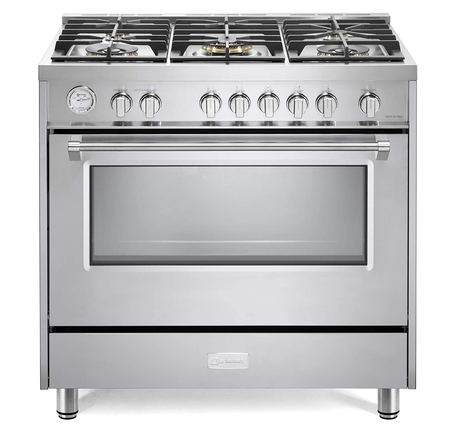 Verona Designer Series VDFSGG365SS 36 inch All Gas 5 cu.Ft Range Oven 5 Sealed Brass Burners Cooktop Turbo Convection Stainless Steel