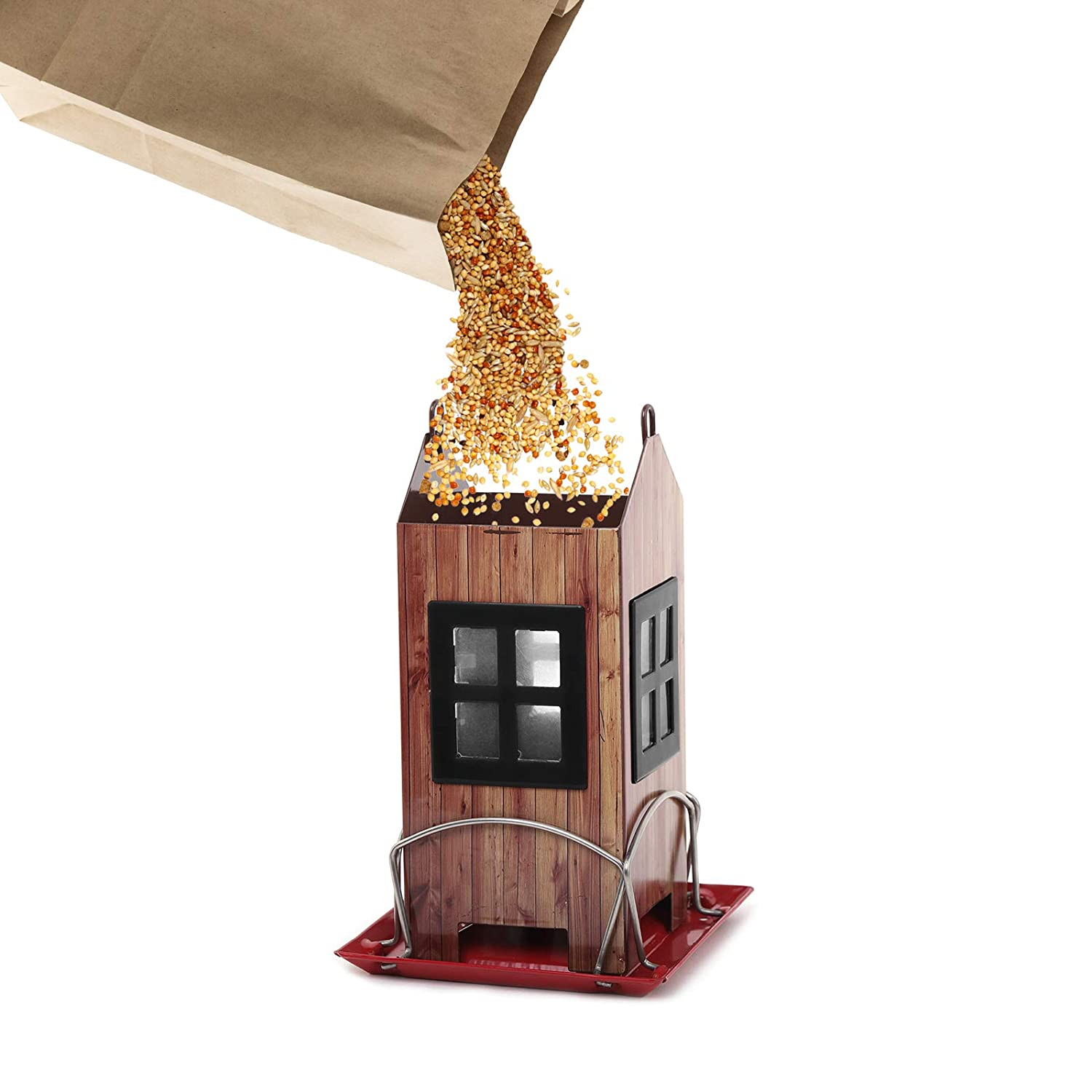 All-Metal Construction Kingsyard Bird Feeder House for Outside Hanging Extra Rustproof S Hook Built-in Drainage Holes to Keep Bird Seed Dry and Fresh