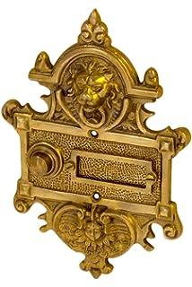 AA9111 Sonnette de porte en laiton patin/é avec plaque de sonnette et bouton de sonnette Fabriqu/é /à la main