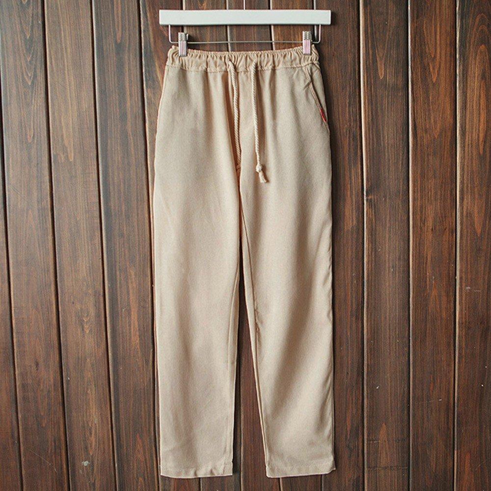 Inverlee-Mens Casual Slim Strandhosen Linen Hose Pant Solid Trousers