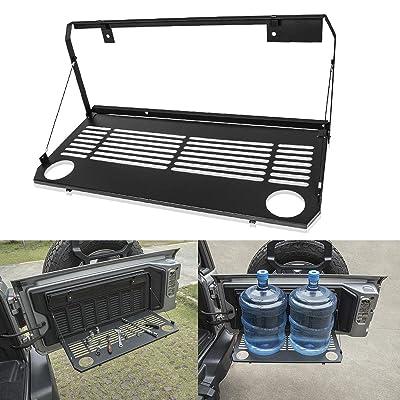 LE-JX Wrangler Black Flexible Rear Door Table, Multi-Purpose Foldaway Tailgate Table, Foldable Storage Cargo Shelf Rack Rear Luggage Holder Carrier Compatible with 2020 2020 Jeep Wrangler JL JLU Trunk: Automotive