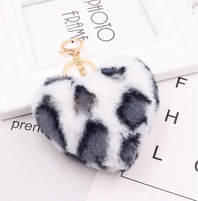 Auranso Pom Pom Keyrings Fluffy Keyring Soft Plush Heart Shape Charm Ring Keyfob Balls Bag Car Key Pendant Keychain Decoration Black
