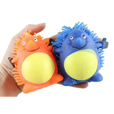 "Curious Minds Busy Bags Set of 2 Light Up - 4.5"" Puffer Hedgehog Balls - Sensory Fidget and Stress Balls - OT Autism SPD (Random Colors): Toys & Games"