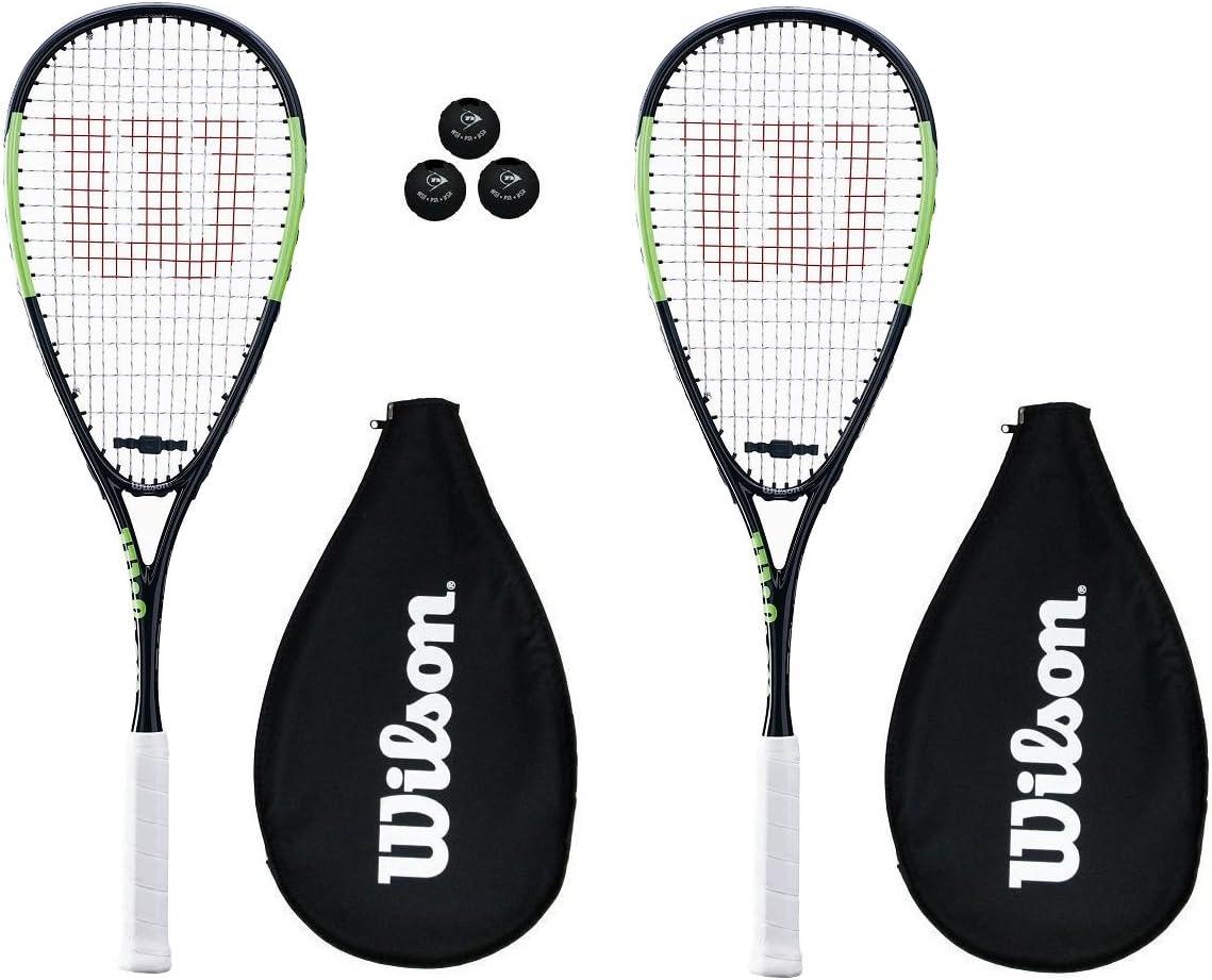 3 Squash B/älle 2 x Wilson Blade Team Squashschl/äger