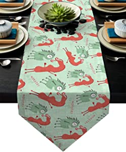Table Runner Funny Cute Cartoon Monsters Kids Design Table Runners for Catering Events, Dinner Parties, Wedding, Indoor and Outdoor Parties, 16 x 72 Inch