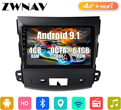 ZWNAV 9 pulgadas Android 9.1 coche estéreo para Mitsubishi Outlander 2006-2011, para Peugeot 4007 2007-2012, para Citroen C-Crosser 2007-2012, navegación GPS, Wifi, Bluetooth, SWC, DSP, 4G Networm: Amazon.es: Electrónica