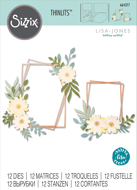 Multicolore Taglia unica Sizzix Die 12 Pack Floral Frame by Set di Fustelle Thinlits 12 pz 664377 Cornice Geo Floreale di Lisa Jones