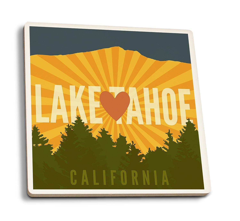 Lake Tahoe、カリフォルニア – ハートと山 4 Coaster Set LANT-75769-CT 4 Coaster Set  B079YKZ7DT
