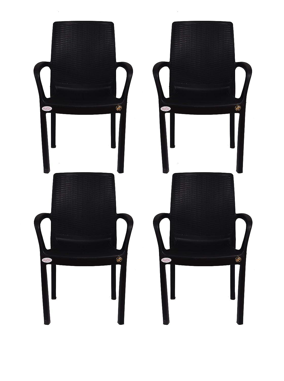 Petals Atlantis Arm Chair (Black, Set Of 4)