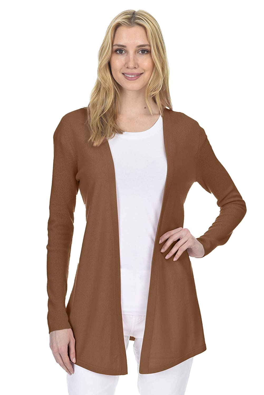 Almond State Fusio Women's Wool Cashmere Soft ShakerStitch Open Cardigan Sweater