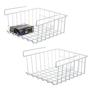 NoRi Stackable Hanging Basket, 2-Pack Under Shelf Hanging Metal Wire Storage Basket for Kitchen, Office, Pantry, Bathroom, Cabinet