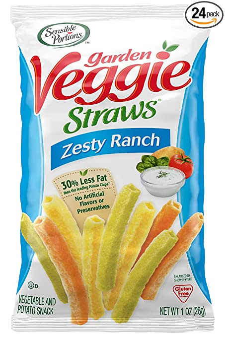 Sensible Portions Garden Veggie Straws, Zesty Ranch, 1 Ounce (Pack of 24)