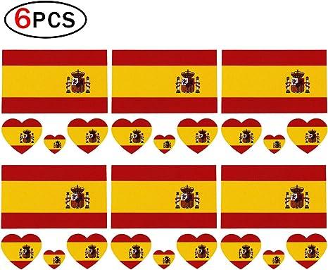 Runfon 6 x Fútbol Tattoo España Bandera Fans Bandera Adhesivos: Amazon.es: Deportes y aire libre