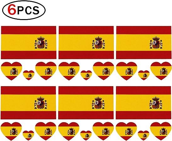 Ndier Día Nacional Tatuaje Temporal de Copa Mundial para Cuerpo y Cara Pegatina de Bandera de España para Fútbol Fans 6 pcs: Amazon.es: Deportes y aire libre