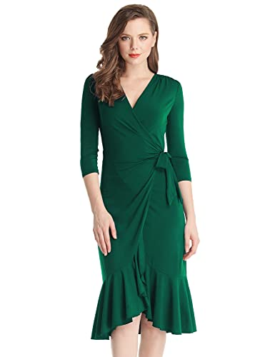 Grapent Women's 3/4 Sleeve Ruffle Surplice Neckline Semi Formal Midi Wrap Dress