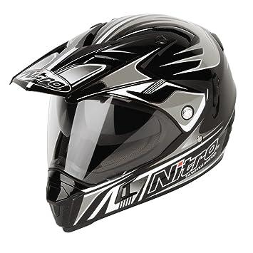 Nitro Casco Moto DVS, Negro Mate/Plateado, XS