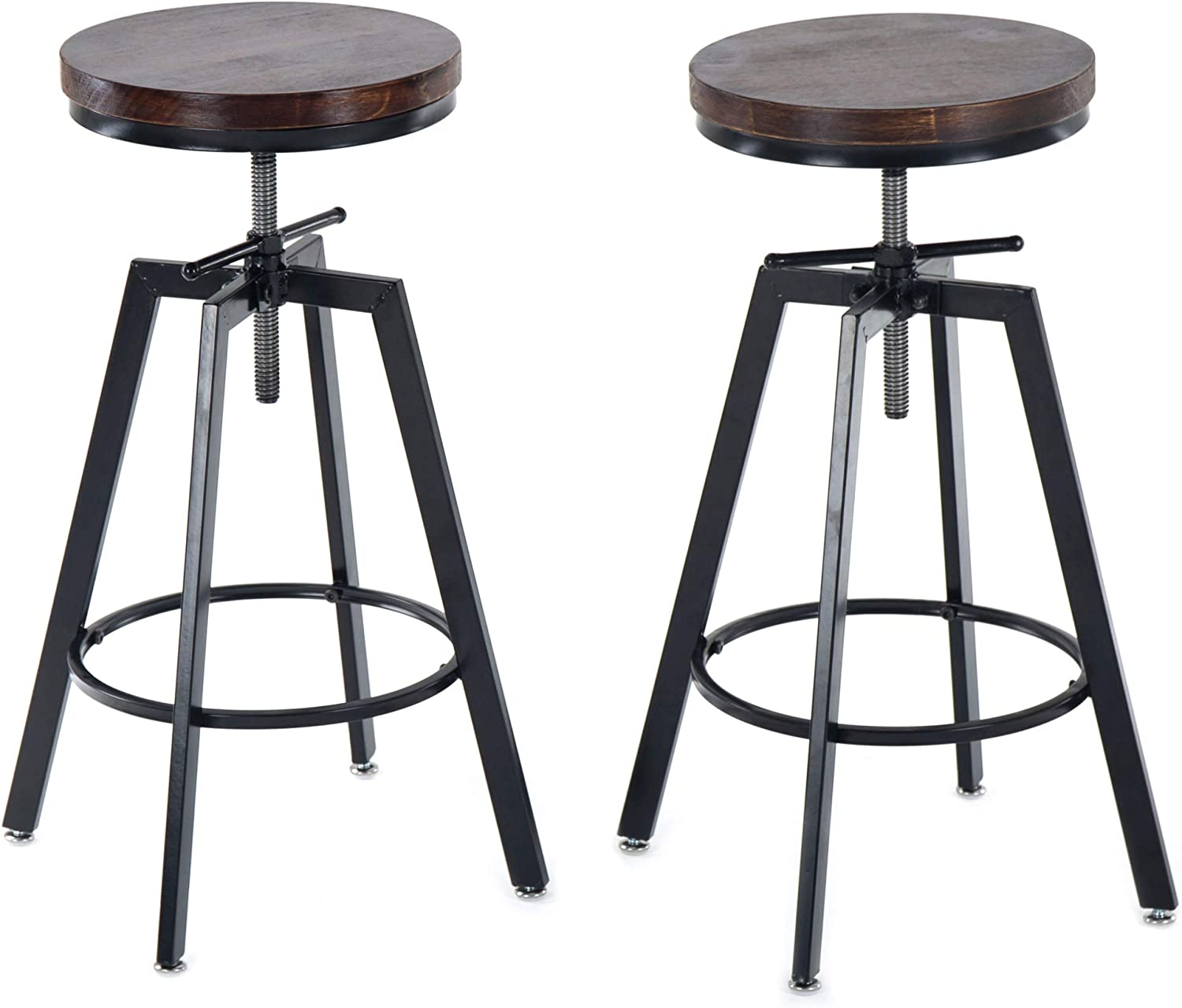 JOELGIUM Adjustable Height Swivel Bar Stools – Counter Height – Set of 2 Solid Wood Seat Metal Base for Kitchen,Bistro,Coffee,Pub