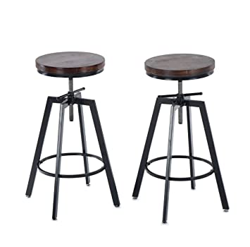 Sensational Joelgium Adjustable Height Swivel Bar Stools Counter Height Set Of 2 Solid Wood Seat Metal Base For Kitchen Bistro Coffee Pub Creativecarmelina Interior Chair Design Creativecarmelinacom