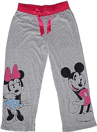 Disney Pantalones De Pijama Clasicos De Mickey Y Minnie Mouse Color Gris Y Rosa Amazon Es Ropa Y Accesorios