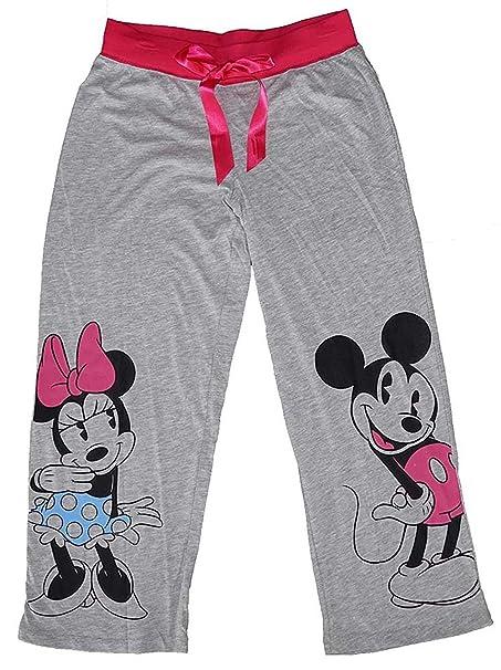 Disney Clásico Mickey y Minnie Mouse pantalón de pijama – gris/rosa - -