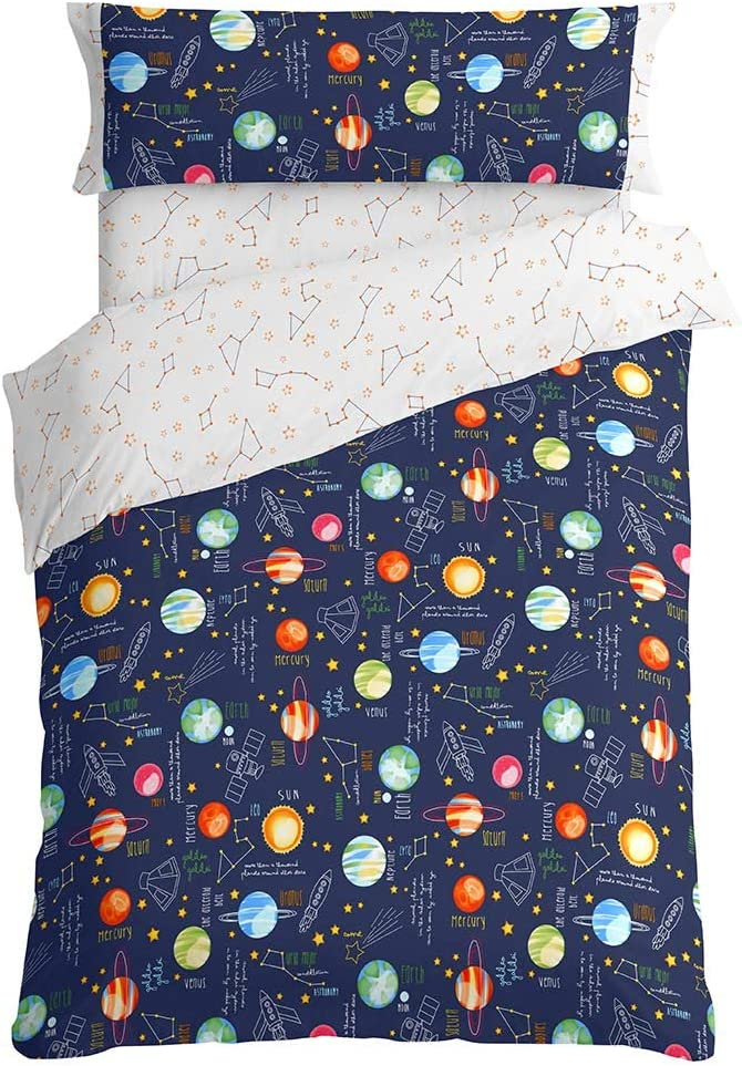 Burrito Blanco Juego de Funda Nórdica 160 Infantil con Un Diseño Estampado de Planetas para Cama Individual de 90x190cm, Colores Rojo, Azul y Azul Oscuro
