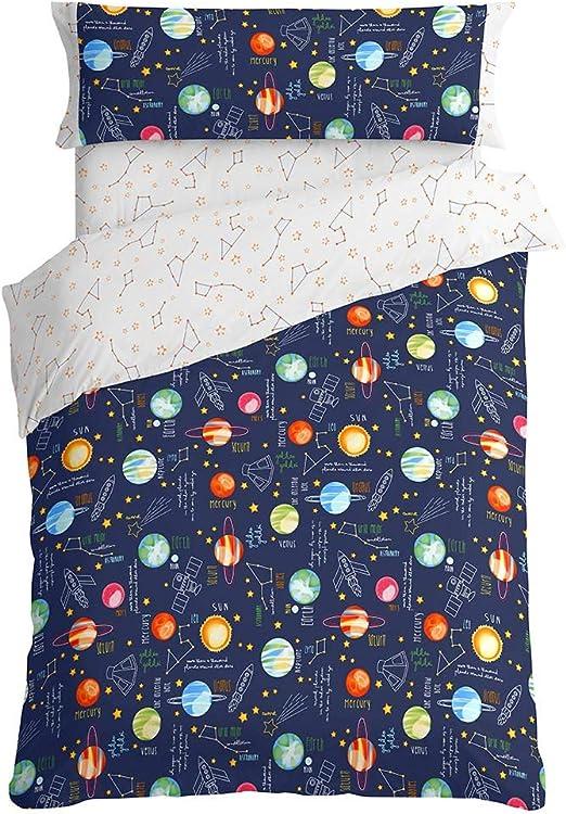 Burrito Blanco Juego de Funda Nórdica 160 Infantil con Un Diseño Estampado de Planetas para Cama Individual de 90x190cm, Colores Rojo, Azul y Azul Oscuro: Amazon.es: Hogar