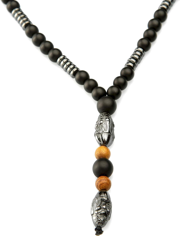 PerlaStyle Collar para Hombre con Piedra Hematita Colgante Buda Estilo Vikingo,Collar Rosario Budista Tibetano de ónix Mate Negro de 6mm