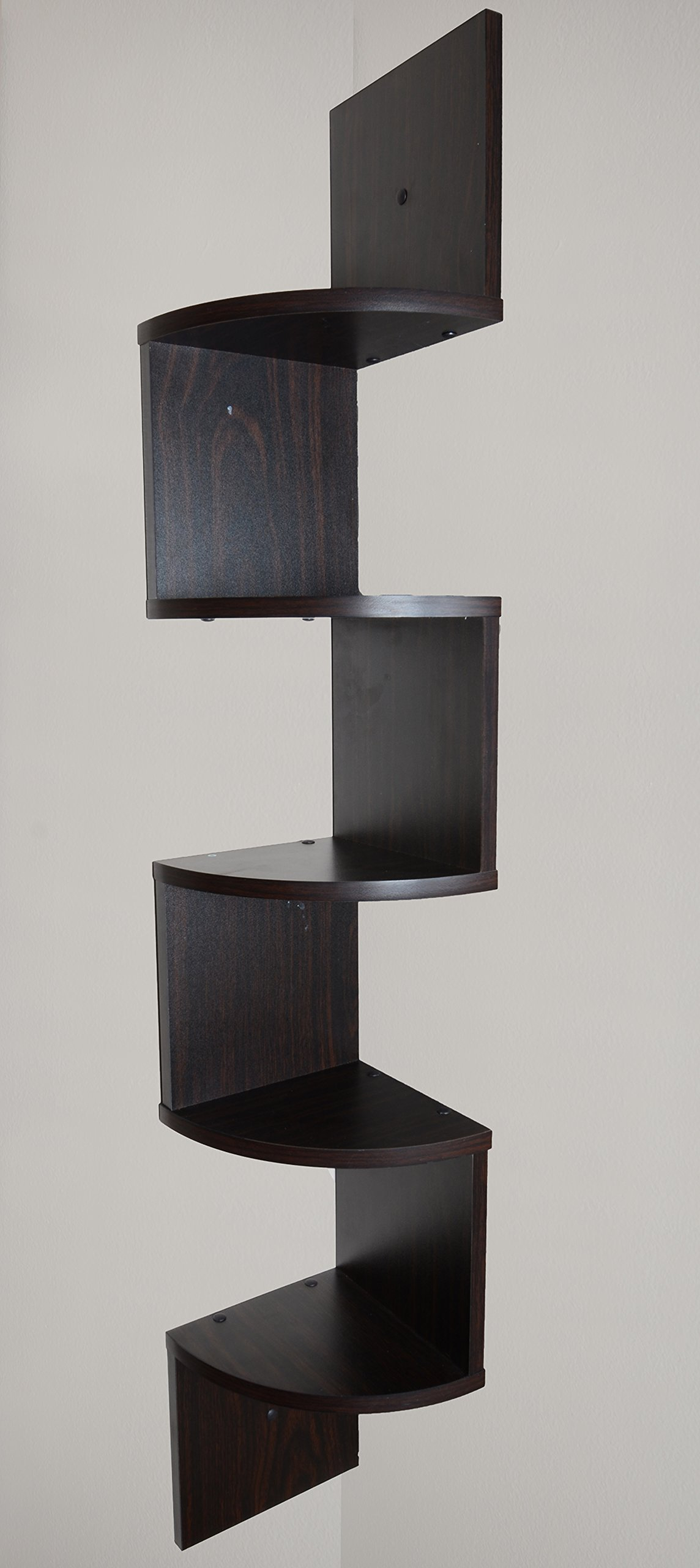 Adorn Home Essentials| Corner Zig Zag Wall Mount Shelves| 5-Tier, Walnut Finish