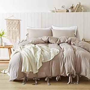 DuShow King Solid Duvet Cover Set Taupe Solid Wash Cotton Duvet Cover(102