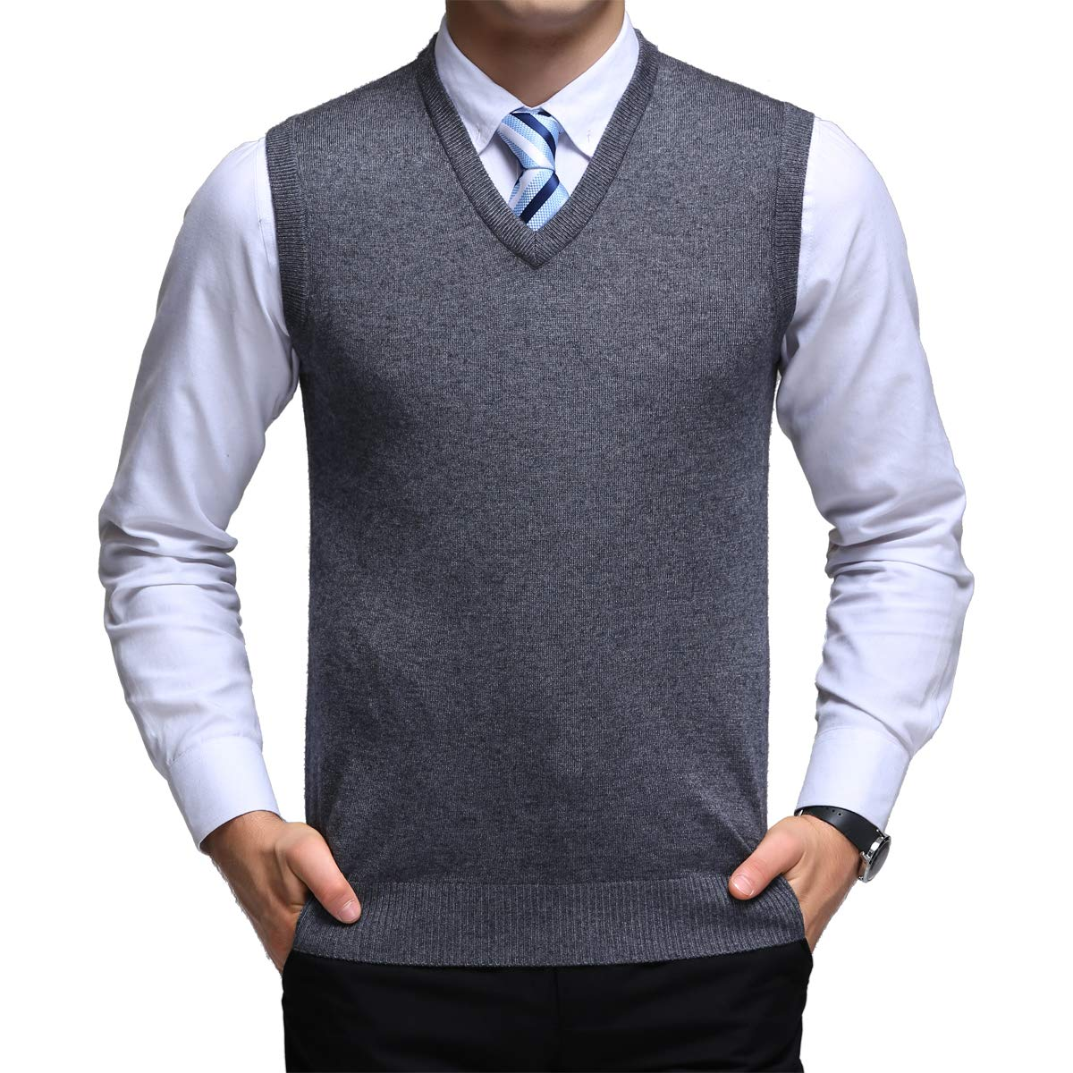 Classic Mens Gilet V Neck Sleeveless Jumper Vest Knitwear Cardigans Knitted Waistcoat Sweater Tank Tops