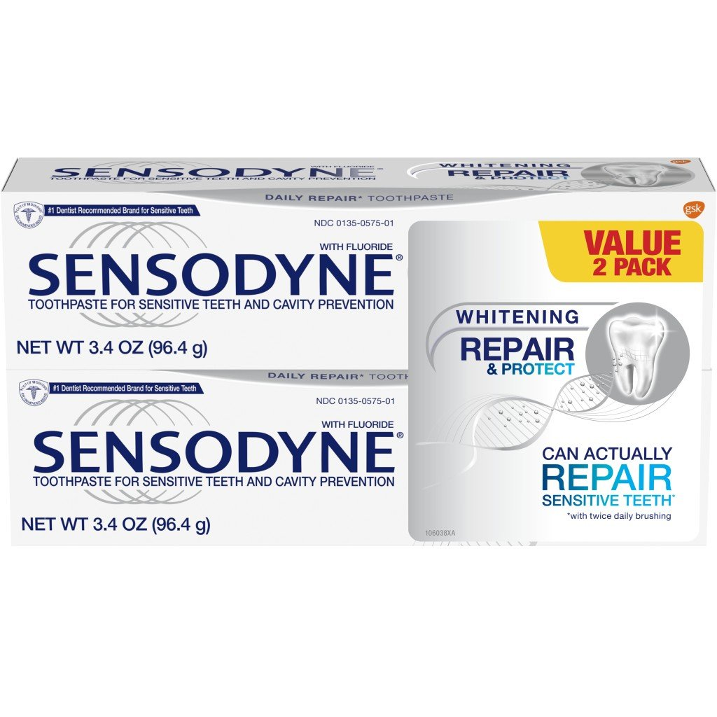 Sensodyne Repair & Protect Whitening Sensitivity Toothpaste for Sensitive Teeth, 3.4 ounces (Pack of 2)