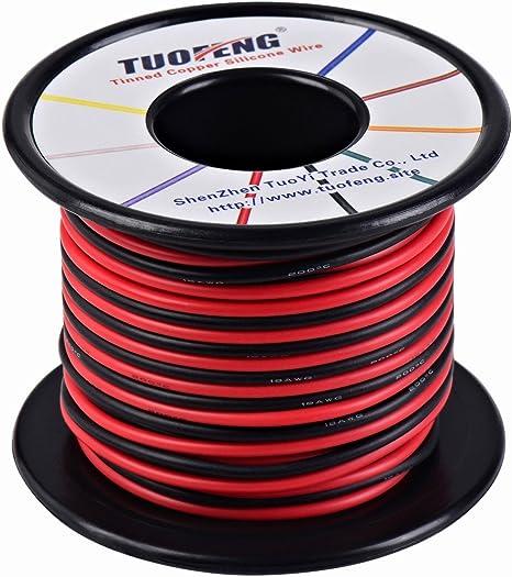 Tuofeng - Alambre aislante de silicona superflexible de 18 AWG, 91 ...