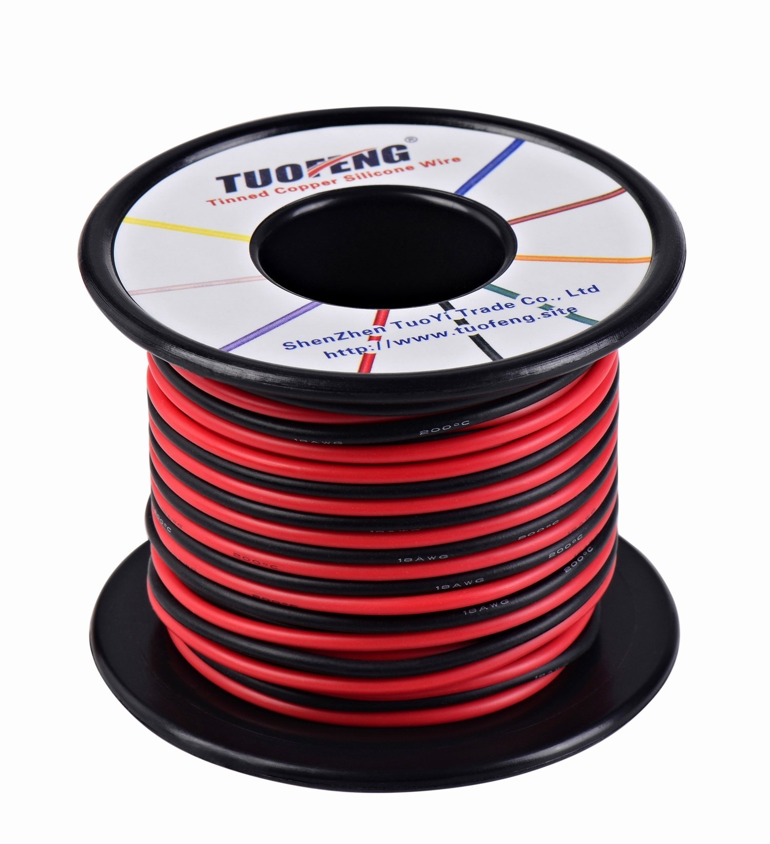 18awg Wire, 66 Feet Super Flexible Silicone Insulated Hookup Wire 33 ft Black and 33 ft Red 2 Separated Wires Tinned Copper Wire High Temperature Resistance for 3D Printer,RC Vehicle