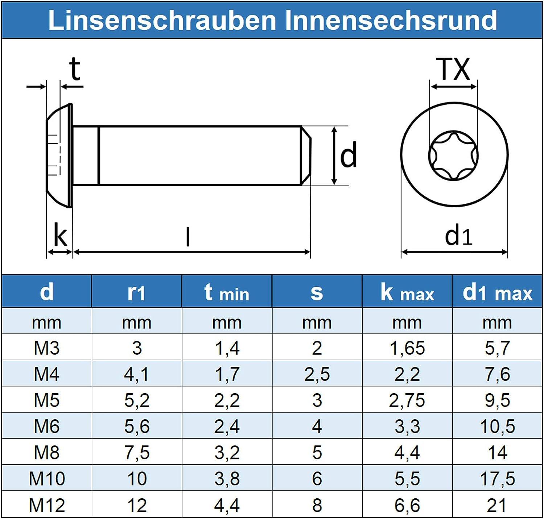 Edelstahl A2 V2A M3 x 3 mm Linsenkopfschrauben mit Innensechsrund TX 10 St/ück Gewindeschrauben rostfrei - ISO 7380 Linsenkopf Schrauben mit Flachkopf Eisenwaren2000