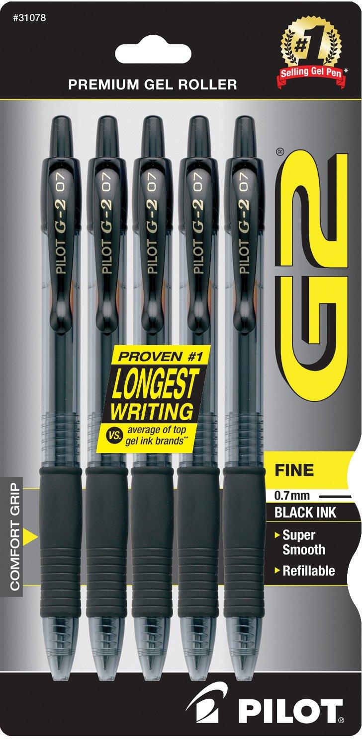 Pilot G2 Retractable Premium Gel Ink Roller Ball Pens, Fine Point, 5-Pack, Black Ink (31078) by Pilot (Image #1)