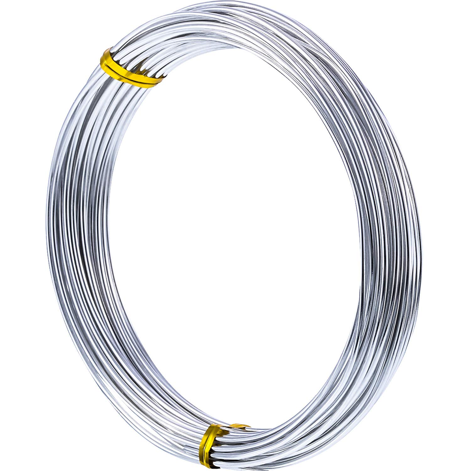 TecUnite 32.8 Feet Silver Aluminum Wire, Bendable Metal Craft Wire for Making Dolls Skeleton DIY Crafts (2mm Thickness)