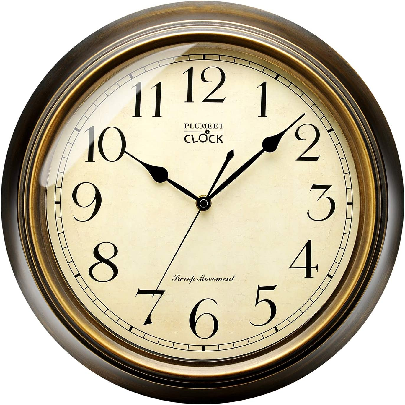 Plumeet Large Retro Wall Clock, 13'' Non Ticking Classic Silent Clocks Decorative Living Room, Battery Operated (Arabic Numerals)